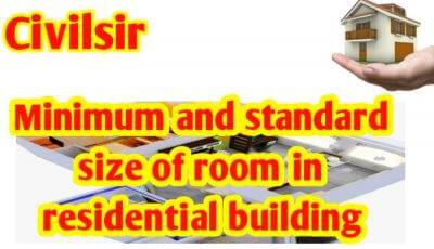 Minimum & standard size of room in residential building