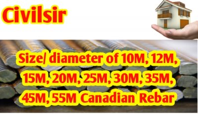 Size/ diameter of 10M, 15M, 20M, 25M, 30M, 35M, 45M, 55M Canadian rebar