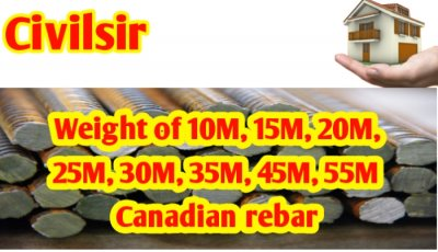 Weight of 10M, 15M, 20M, 25M, 30M, 35M, 45M, 55M Canadian reba