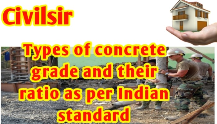 Types of concrete grade and their ratio as per Indian Standard