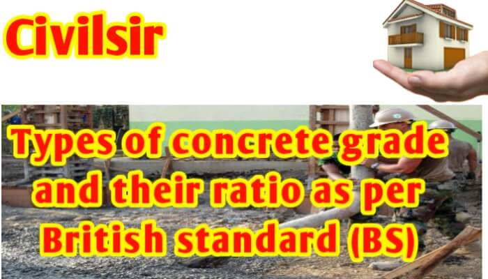 Types of concrete grade and their ratio as per British Standard (BS)