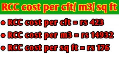 RCC cost per cubic feet/ cubic meter/ sq ft