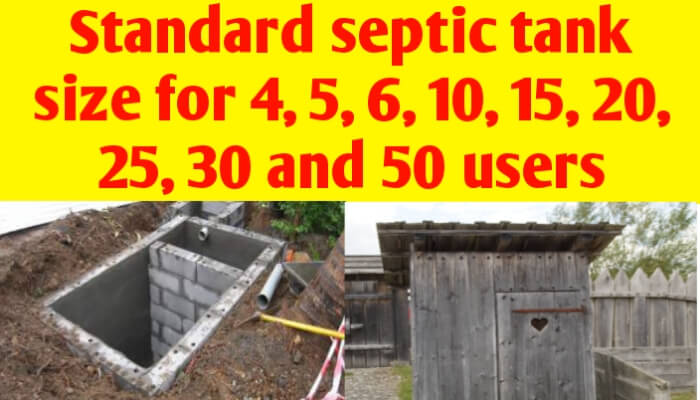 Standard septic tank size for 4, 5, 6, 10, 15, 20, 25 and 50 users