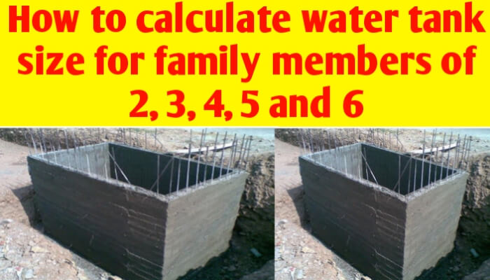 How to calculate water tank size for family of 2, 3, 4, 5 and 6