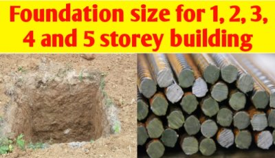 Foundation size for 1, 2, 3, 4 and 5 storey building
