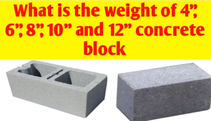 "Weight of 4"", 6"", 8"", 10"" and 12"" solid & hollow Concrete block"