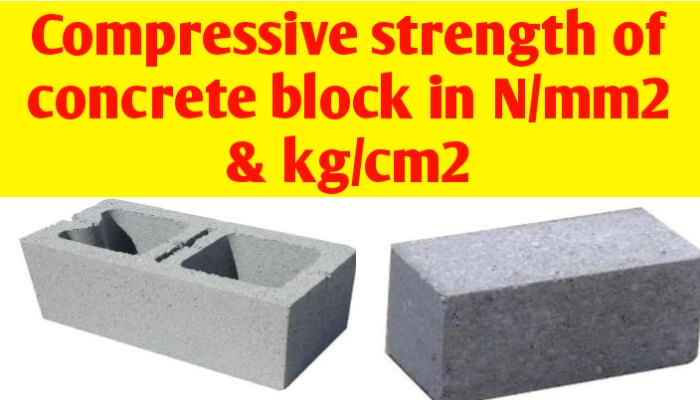 Compressive strength of concrete block in N/mm2 and Kg/cm2