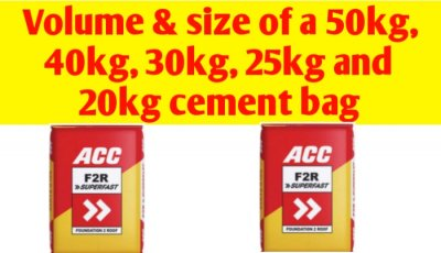 Volume & size of a 50kg, 40kg, 30kg, 25kg and 20kg cement bag