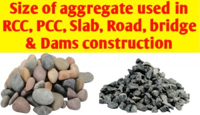 Size of aggregate used in RCC, PCC, slab, Road, Bridge & Dams