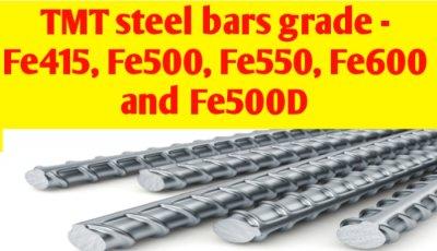 TMT Steel bars grade - Fe415, Fe500, Fe550, Fe600, Fe500D & Fe500SD