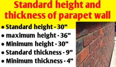 Standard height and thickness of parapet wall