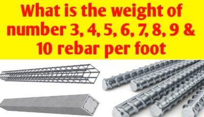 Weight of number 3, 4, 5, 6, 7, 8, 9 & 10 rebar per foot