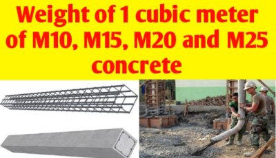 Weight of 1 cubic meter of M10, M15, M20 and M25 concrete