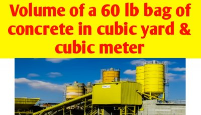 Volume of a 60 lb bag of concrete in cubic yard & cubic foot
