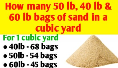 How many 50 lb, 40 lb and 60 lb bags of sand in a cubic yard