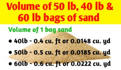 Volume of 50 lb, 40 lb and 60 lb bag of sand