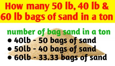 How many 50 lb, 40 lb and 60 lb bags of sand in a ton