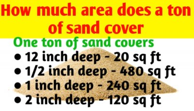 How much area does a ton of sand cover