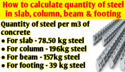 How to calculate quantity of steel in slab, column, beam & footing