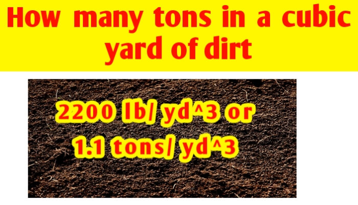 How many tons in a cubic yard of Dirt