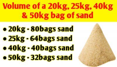 Volume of a 20kg, 25kg, 40kg and 50kg bag of sand