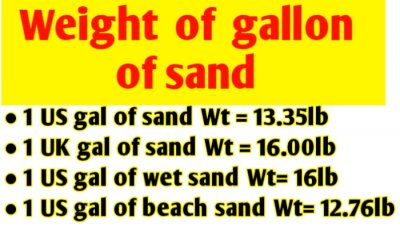 Weight of gallon of sand and pounds converter