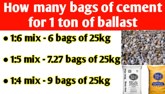 How many bags of cement per ton of ballast