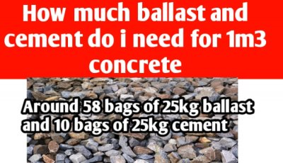 How much ballast and cement do I need for 1m3 concrete