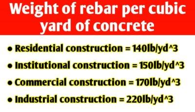 Weight of rebar per cubic yard of concrete