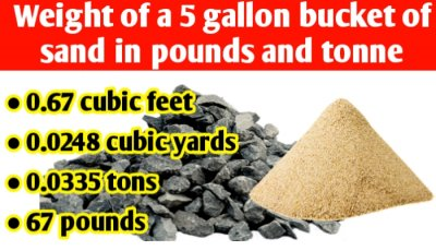 Weight of a 5 gallon bucket of sand in pounds & tons