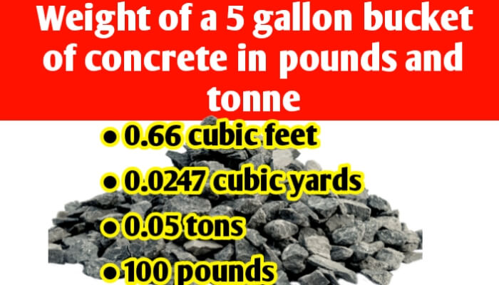 Weight of a 5 gallon bucket of concrete in pounds & tons