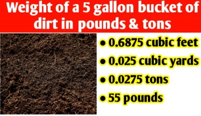 Weight of a 5 gallon bucket of dirt in pounds & tons