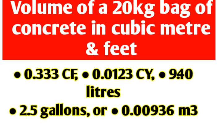 Volume of a 20kg bag of concrete in cubic metre & cubic feet