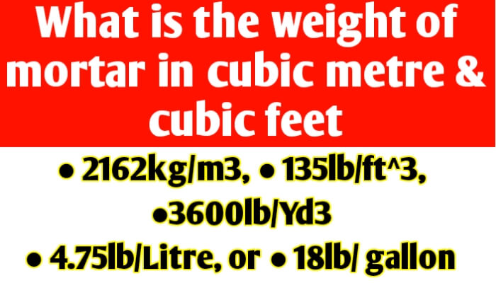 What is the weight of mortar per cubic meter & per cubic feet