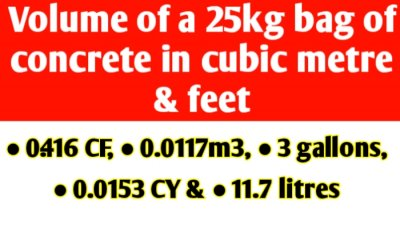 Volume of a 25kg bag of ready mix concrete in cubic metre & feet