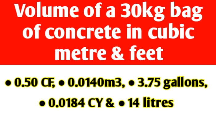 Volume of a 30kg bag of ready mix concrete in cubic metre & feet