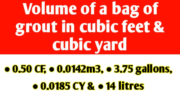Volume of a bag of grout in cubic feet and cubic yard