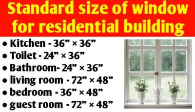 Standard size of window for residential building