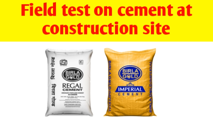 Field test on cement at construction site