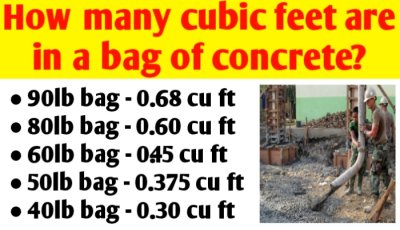 How many cubic feet are in a bag of concrete