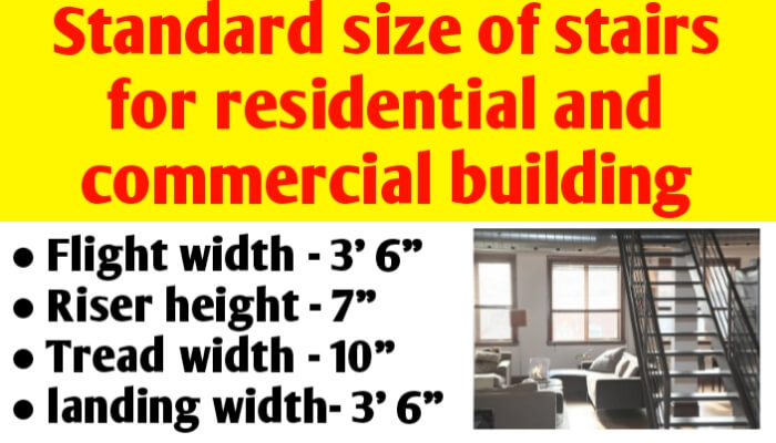 Standard size of stairs for residential & commercial building