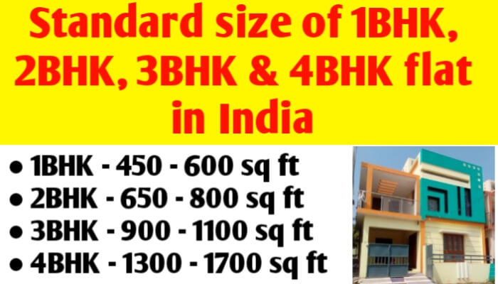 Standard size of 1BHK, 2BHK, 3BHK & 4BHK flat in India