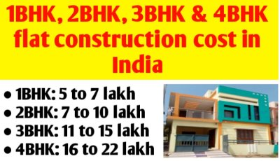 1BHK, 2BHK, 3BHK & 4BHK house/ flat construction cost in India