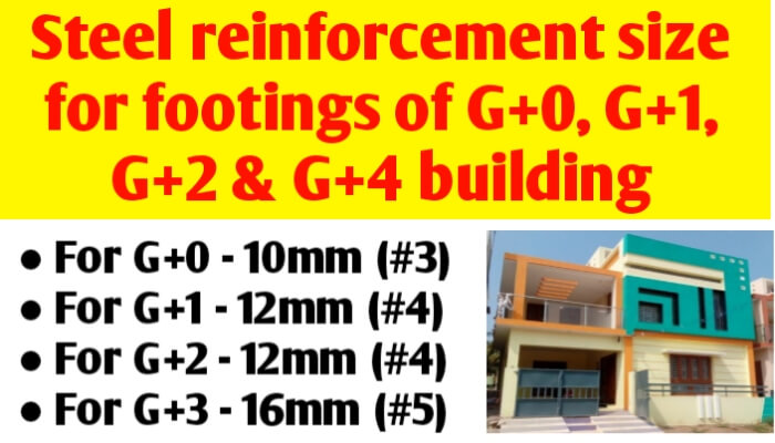 Reinforcement bar size for footing of G+0, G+1, G+2 & G+4 building