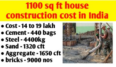 1100 sq ft house construction cost in India & material quantity