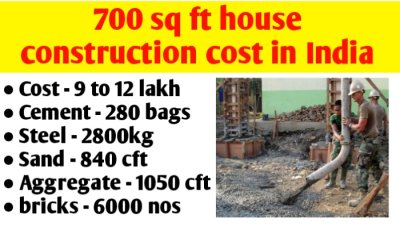 700 sq ft house construction cost in India & material quantity