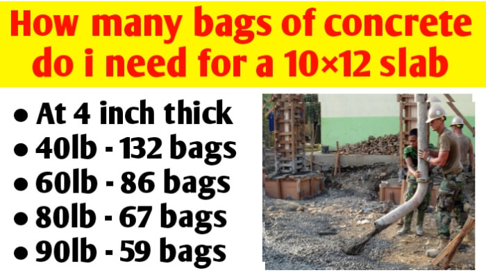 How many bags of concrete do I need for a 10×12 slab