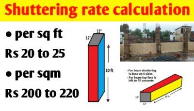Shuttering labour rate per sq ft | shuttering rate per sqm