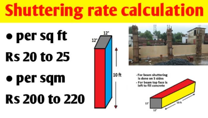 Shuttering labour rate per sq ft   shuttering rate per sqm