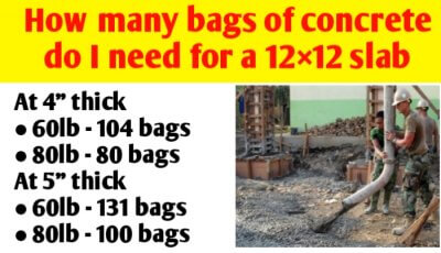 How many bags of concrete do I need for a 12×12 slab